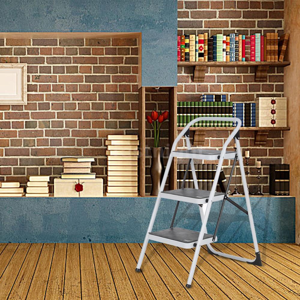 klapptritt 150kg trittbock 3 stufen haushaltsleiter trittleiter leiter en131 1 ebay. Black Bedroom Furniture Sets. Home Design Ideas